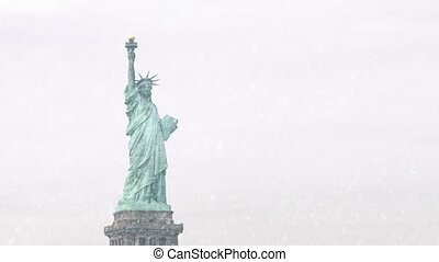 The Statue Of Liberty In Snowstorm - The Statue Of Liberty...