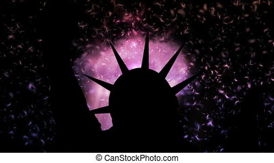 The statue of liberty of New York City against dreamy...
