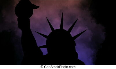 The statue of liberty of New York City against time lapse...