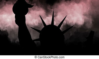 The Statue Of Liberty Of New York City Against Time Lapse Clouds