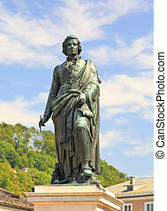 The statue of Mozart in Salzburg, Austria - The statue of...