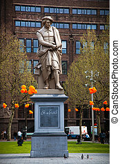 The statue of Rembrandt in Amsterdam