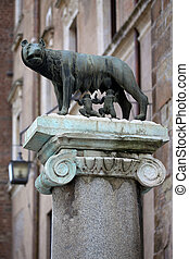 The statue of Romul and Remus in Rome, Italy
