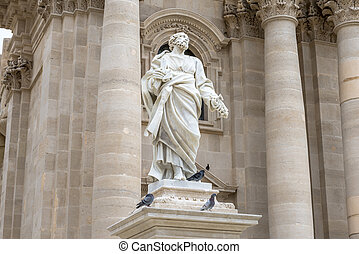 The statue of Saint Paul in the facade of the Siracusa Cathedral, Ortygia. The facade has been made between 1728 and 1754, the statue is by the sculptor Ignazio Marabitti