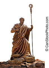 The statue of Saint Peter and fish at Capharnaum, Israel