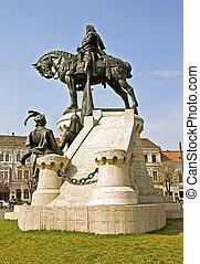 The statue of the king Matthias Corvinus