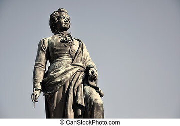 The statue of Wolfgang Amadeus Mozart in Salzburg, Austria -...