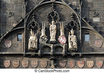 The statues of saints and kings at the Bridge Tower of Charles Bridge