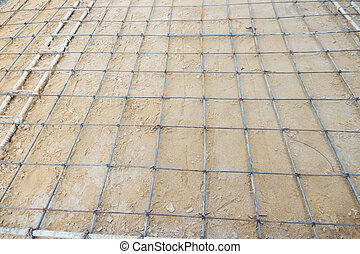 The steer wire mesh for concrete floor in construction site.