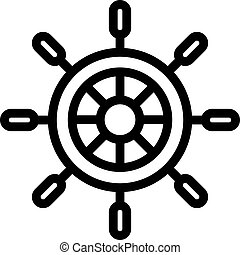 The steering wheel of the ship is an icon vector. Isolated contour symbol illustration