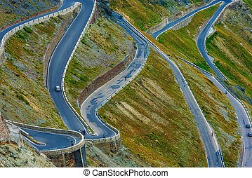 The Stelvio Pass Extreme Road. Northern Italy. Elevation of ...