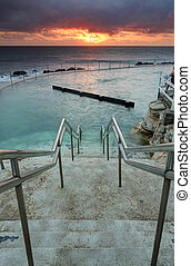 The steps leading down into Bronte Ocean Baths Australia