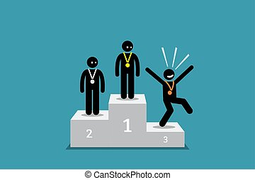 The stick figure person in third place is happier than the people in the first and second place.