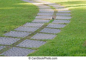The Stone block walk path in garden park