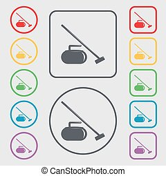The stone for curling icon sign. symbol on the Round and square buttons with frame. Vector