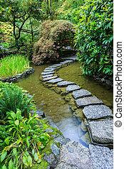 The stones in Japanese garden