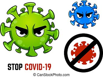 The stop COVID-19 pandemic concept in cartoon character. ...