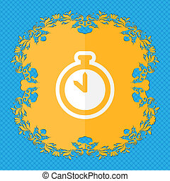 The stopwatch. Floral flat design on a blue abstract background with place for your text.