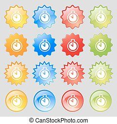 The stopwatch icon sign. Big set of 16 colorful modern buttons for your design. Vector