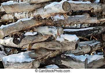 The storage of logs in the open air
