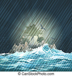 The Storm - Illustration with lost island in the storming...