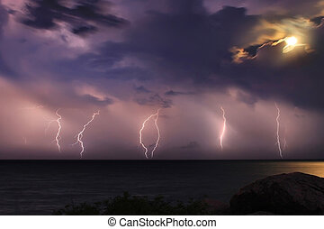 The storm over the ocean. Moonlight