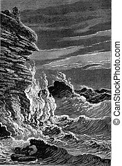 The Storm, vintage engraving.