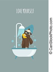 The story of one sloth. At home. Funny cartoon sloths in different postures set
