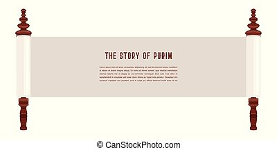 the story of Purim. Jewish acient scroll. banner template illustration