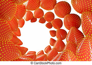 The strawberry berries swirled in a swirl in the shape of a frame for your text and design. realistic 3d illustration isolated on white background