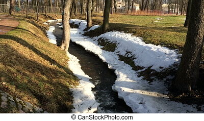 The stream in spring park flows in a frame of thawing snow