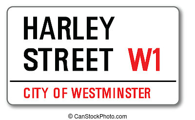 Harley Street - The street name sign from Harley Street West...