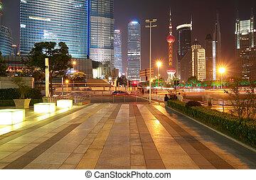The street scene in shanghai Lujiazui at night, China