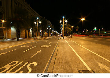 The streets of Barcelona at night, Catalonia, Spain