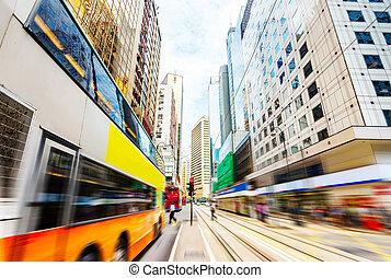 The streets of Hong Kong, motion blur. - China, Hong Kong ...