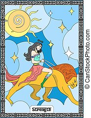 the STRENGTH card - the illustration - card for tarot - the...