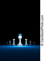 The strong leader. Prompt career (big success).Vertical of authority (chess metaphor). 3D render illustration. Free space for text.