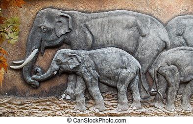 stucco of elephant family