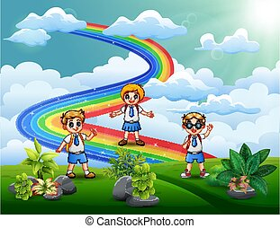 The student at the hilltop with a rainbow