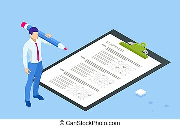 The student filling out answers to exam test answer sheet with a pencil. Education concept. Isometric vector illustration.