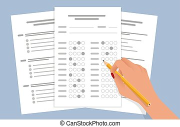 The student filling out answers to exam test answer sheet with a pencil. School and Education. Test score sheet with answers.