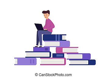 The student is learning. large pile of books on them sits young man with laptop.