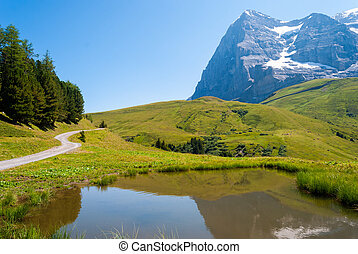 the stunning Alpine panorama of the Northern wall of the Eiger peak is reflected in a small mountain lake. Grindelwald Bernese Alps Switzerland Europe