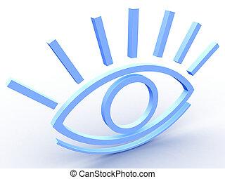 The stylised eye on a white background