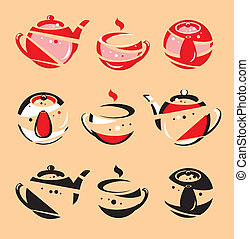 The stylised teapot and a mug