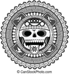 The stylized deity of aztecs with a skull in a vector