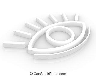 The stylized eye on a white background