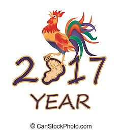 The stylized image. 2017 fire rooster illustration