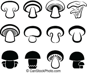 The stylized mushrooms
