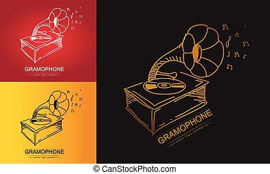 The stylized of gramophone Vector illustration